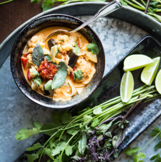 Thai Red Curry Noodle Soup with Eggplant and Cauliflower