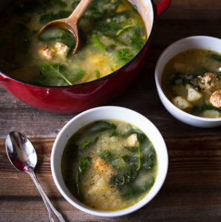 Chicken Sausage, Potato and Spinach Soup