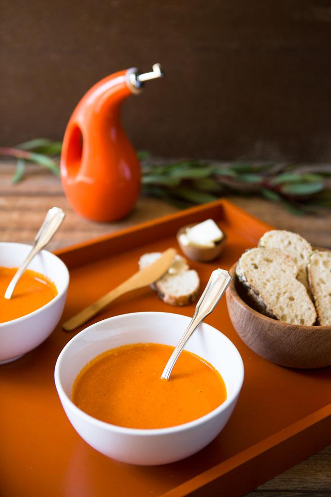 Whole30 compatible roasted tomato soup.